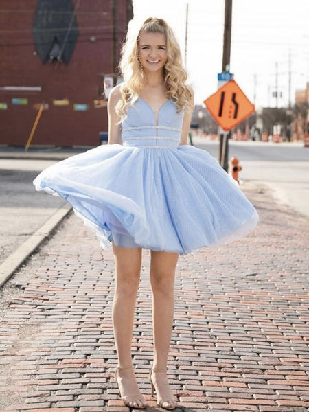 Shiny Blue V Neck Short Prom Dresses, Short Blue V Neck Formal Homecoming Dresses