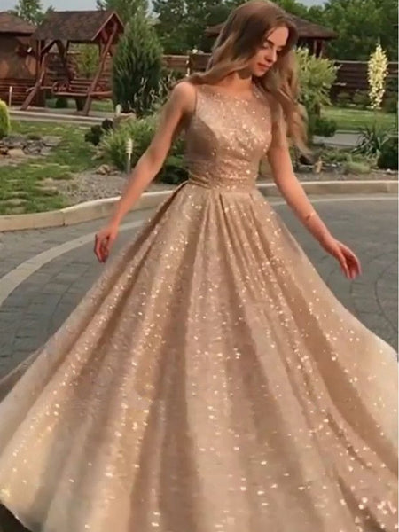 Shiny Champagne Gold Sequins Sleeveless Long Prom Dresses, Shiny Long Formal Evening Dresses