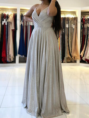 Shiny Gray V Neck Long Prom Dresses, Grey V Neck Long Formal Evening Dresses