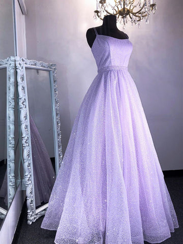 Shiny Lilac Long Prom Dresses, Purple Long Formal Evening Graduation Dresses
