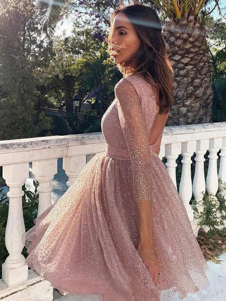 Shiny Long Sleeves Open Back Short Prom Dresses, Short Long Sleeves Backless Formal Homecoming Dresses