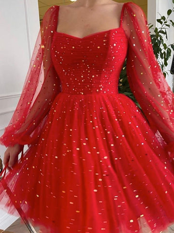 Shiny Long Sleeves Short Red Prom Dresses, Long Sleeves Short Red Formal Graduation Dresses