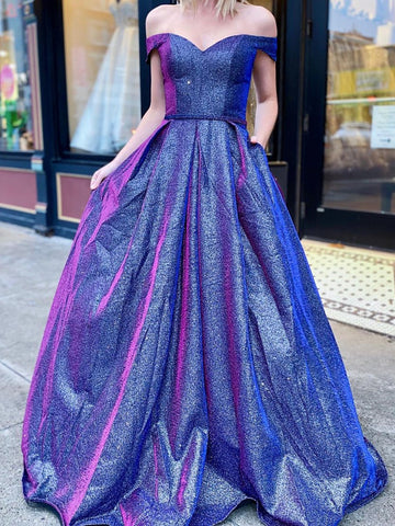 Shiny Off the Shoulder Blue Prom Dresses, Off Shoulder Blue Formal Evening Dresses