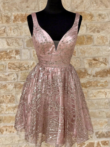 Shiny V Neck Short Champagne Prom Dresses, Short V Neck Champagne Graduation Formal Dresses