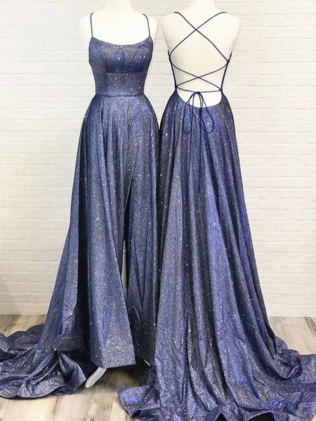 Shiny Blue Backless Prom Dresses, Blue Open Back Formal Evening Dresses