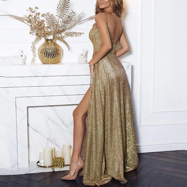Shiny Champagne Long Prom Dresses, Shiny Champagne Floor Length Formal Evening Dresses