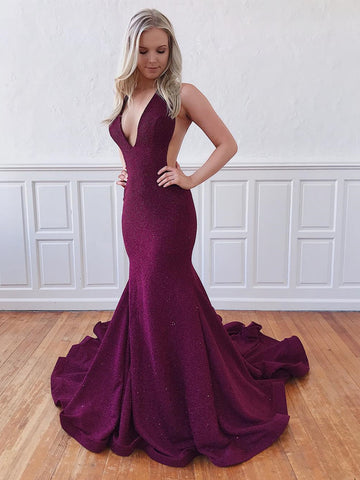 Shiny V Neck Mermaid Open Back Purple Prom Dresses, Purple Mermaid Formal Evening Graduation Dresses