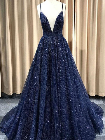 A Line V Neck Navy Blue/Burgundy/Champagne Prom Dresses, Shiny V Neck Open Back Formal Evening Party Dresses