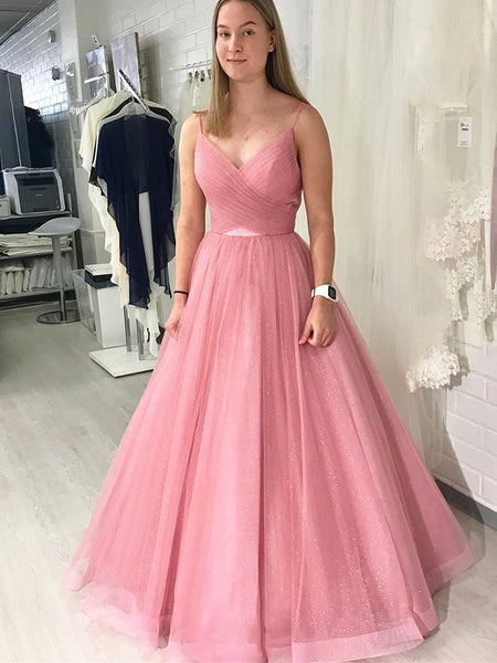Shiny V Neck Pink Backless Prom Dresses, Pink Open Back Formal Evening Graduation Dresses