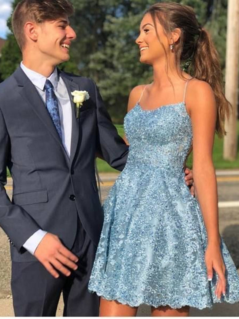 Short Backless Blue Lace Prom Dresses, Open Back Short Blue Lace Formal Homecoming Dresses