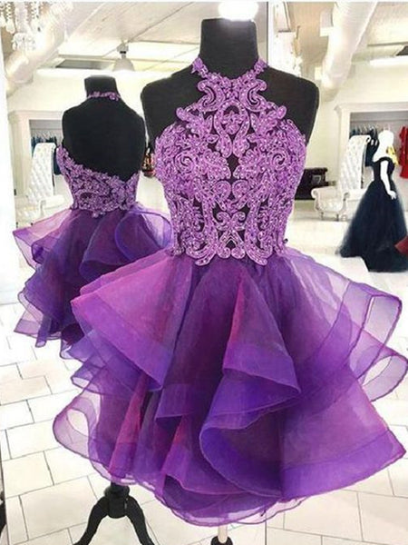 Short Backless Purple Organza Lace Prom Dresses, Short Purple Lace Formal Homecoming Dresses