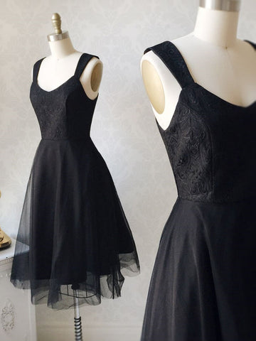 Short Black Lace Prom Dresses, Short Black Lace Formal Graduation Dresses