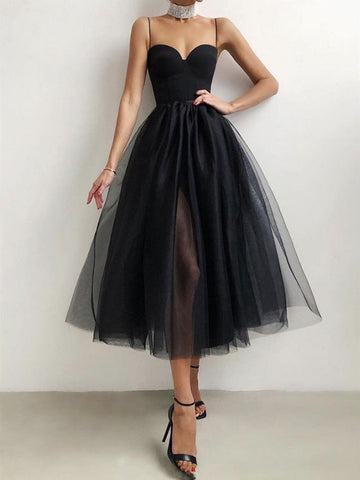 Short Black Tulle Prom Dresses, Little Black Formal Evening Dresses