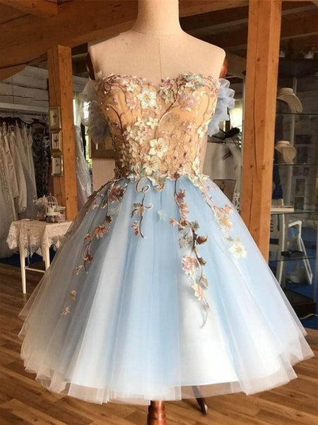 Short Blue Lace 3D Floral Prom Dresses, Short Blue Lace Floral Formal Homecoming Dresses