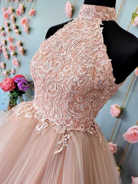 Short Halter Neck Pink Lace Prom Dresses, Halter Neck Short Pink Lace Formal Homecoming Dresses