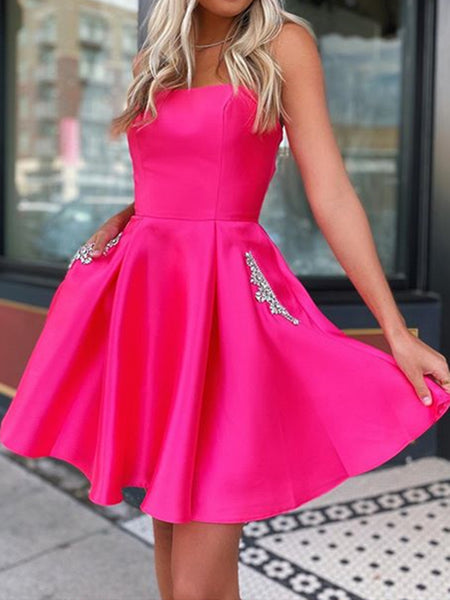 Short Hot Pink Satin Prom Dresses, Short Hot Pink Formal Homecoming Dresses