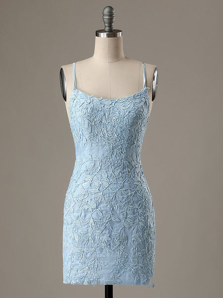 Short Light Blue Backless Lace Prom Dresses, Open Back Light Blue Lace Graduation Homecoming Dresses Measure Guide