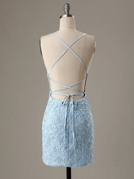 Short Light Blue Backless Lace Prom Dresses, Open Back Light Blue Lace Graduation Homecoming Dresses Size Chart