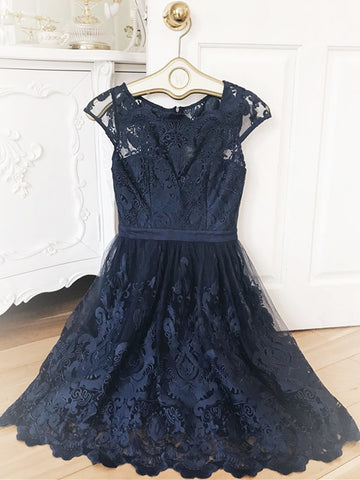 Short Navy Blue Lace Prom Dresses, Dark Blue Short Lace Formal Bridesmaid Dresses