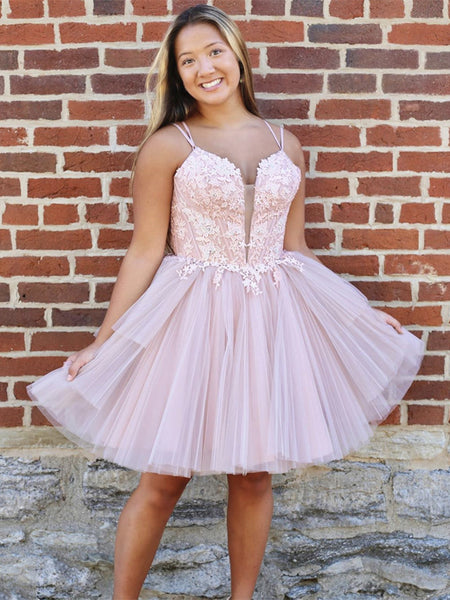 Short Pink Lace Prom Dresses, Deep V Neck Short Pink Lace Formal Homecoming Dresses