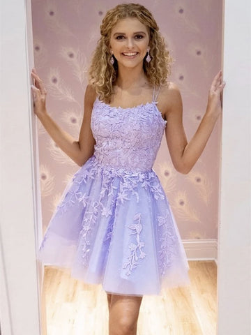Short Purple Lace Prom Dresses, Short Purple Lace Formal Homecoming Dresses