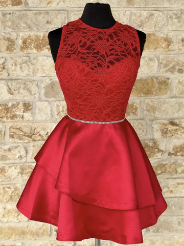 Short Red Lace Prom Dresses, Short Red Lace Formal Homecoming Dresses