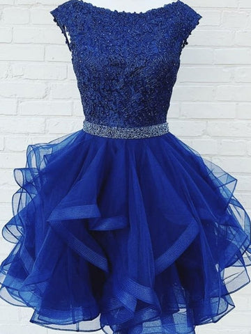 Short Royal Blue Lace Prom Dresses, Royal Blue Short Lace Formal Graduation Dresses