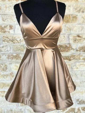 Short V Neck Champagne Prom Dresses, Short V Neck Champagne Graduation Homecoming Dresses