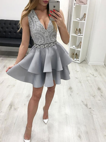 Short V Neck Gray Lace Prom Dresses, Gray V Neck Short Lace Formal Homecoming Dresses