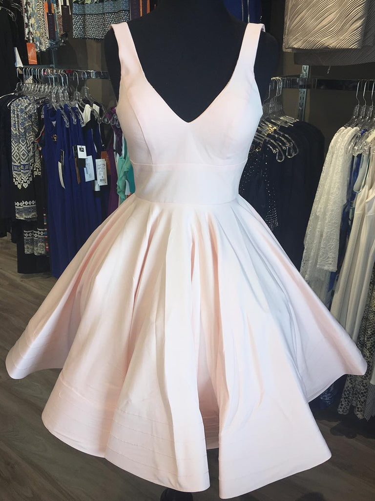 Short V Neck Light Pink Satin Prom Dresses, Short V Neck Pink Formal Graduation Dresses