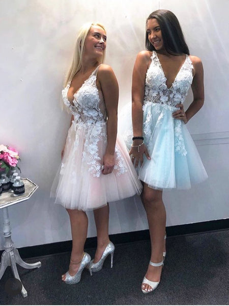 Short V Neck Pink Blue Lace Floral Prom Dresses, Short Pink Blue Lace Formal Homecoming Dresses
