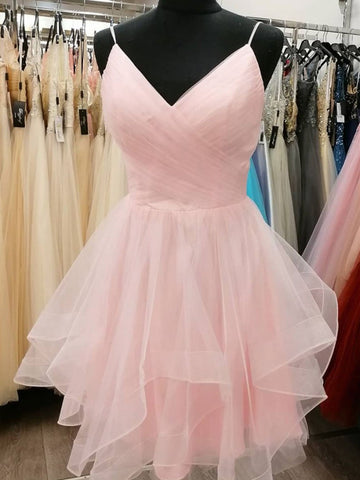 Short V Neck Pink Light Champagne Prom Dresses, V Neck Short Formal Graduation Dresses