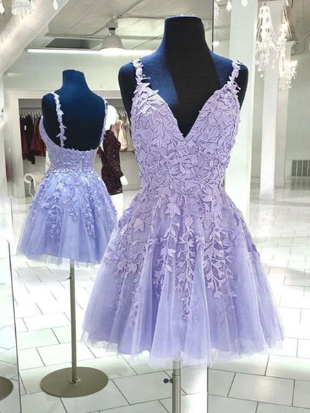 Short V Neck Purple Lace Prom Dresses, Short Purple Lace Formal Homecoming Dresses