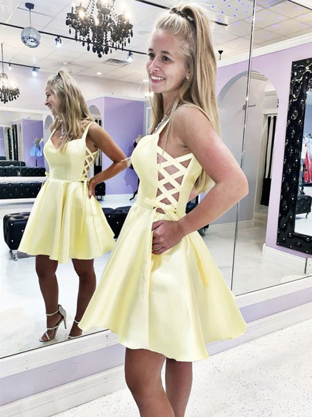 Short V Neck Yellow Prom Dress with Cross Side, Short Yellow Formal Homecoming Dresses