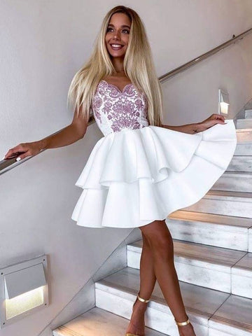Short White Lace Prom Dresses, Short White Lace Formal Graduation Dresses