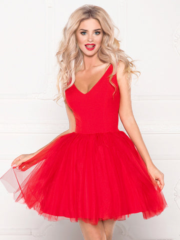 Short A Line V Neck Red/Blue/Pink Prom Dresses, Short V Neck Formal Graduation Homecoming Dresses