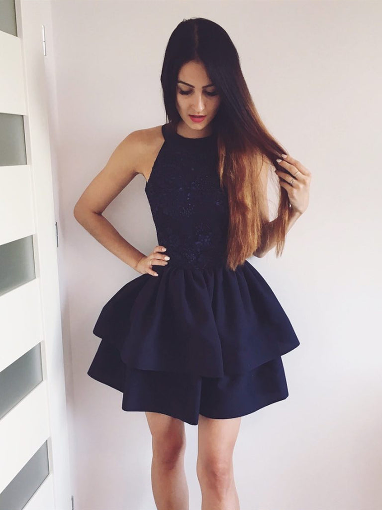 Short Black Lace Prom Dresses, Round Neck Short Black Lace Homecoming Graduation Cocktail Dresses