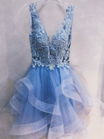 Short Blue Lace Prom Dresses, Short Blue Lace Homecoming Graduation Formal Dresses