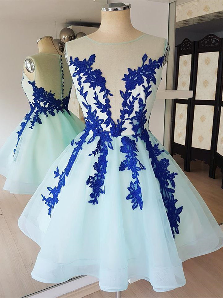 Short Blue Lace Tulle Prom Dresses, Short Blue Lace Homecoming Graduation Dresses