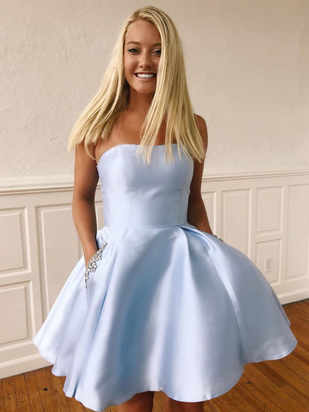 Short Blue Prom Dresses with Pockets, Short Blue Fomal Homecoming Graduation Dresses with Pockets