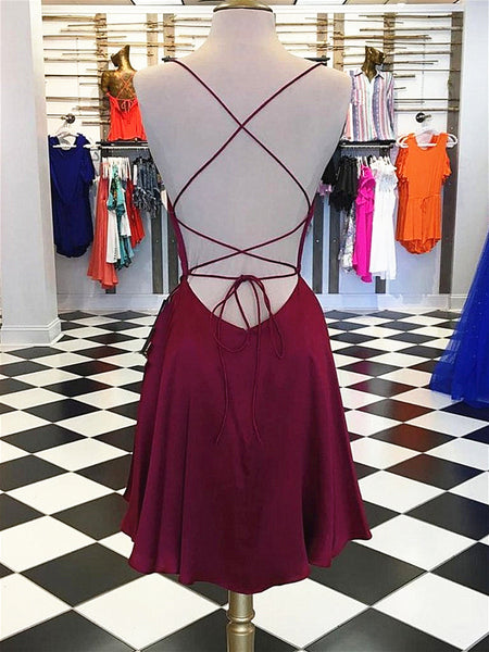 Short Burgundy Backless Prom Dresses, Short Burgundy Backless Formal Graduation Homecoming Dresses