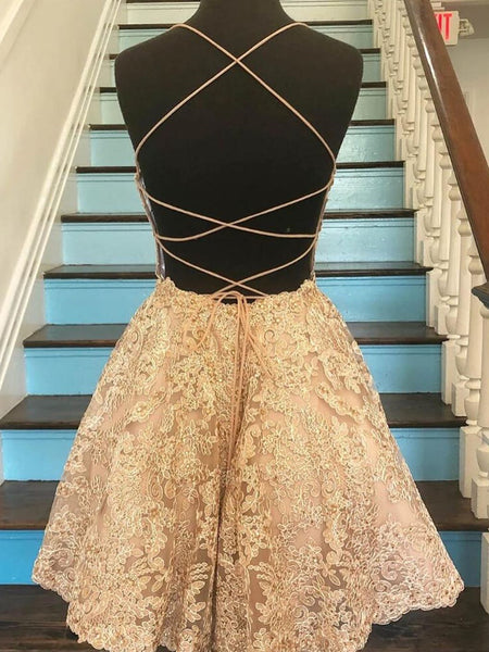 Short Champagne Backless Lace Prom Dresses, Short Lace Formal Graduation Homecoming Dresses