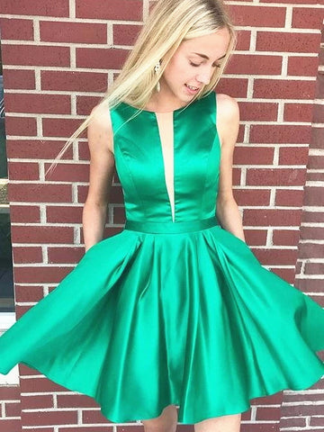 Short Green Backless Prom Dresses, Short Green Open Back Formal Graduation Homecoming Dresses