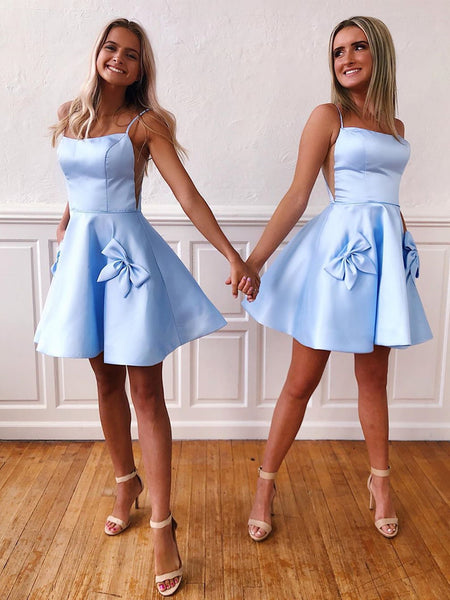 Short Ice Blue Prom Dresses with Pockets, Short Blue Bowknot Homecoming Formal Graduation Dresses