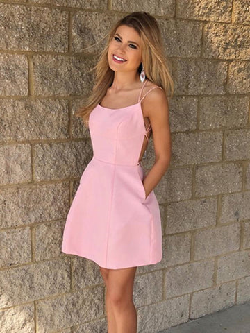Short Pink Backless Prom Dresses, Short Pink Backless Formal Graduation Homecoming Dresses