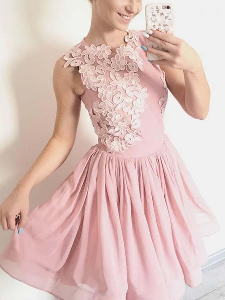 Short Pink Lace Prom Dresses, Short Pink Lace Floral Formal Graduation Homecoming Dresses