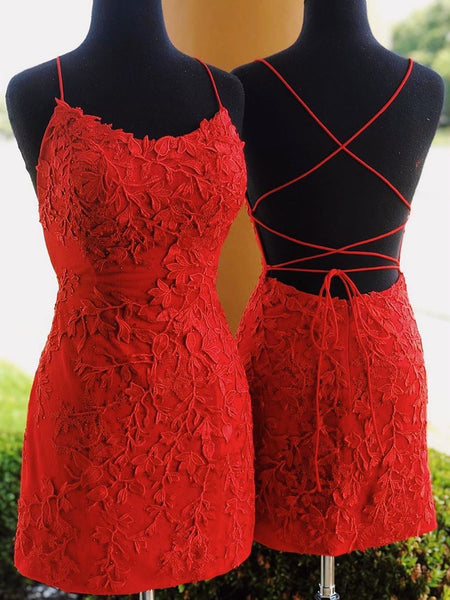 Short Red Backless Lace Prom Dresses, Short Red Backless Lace Formal Homecoming Graduation Dresses