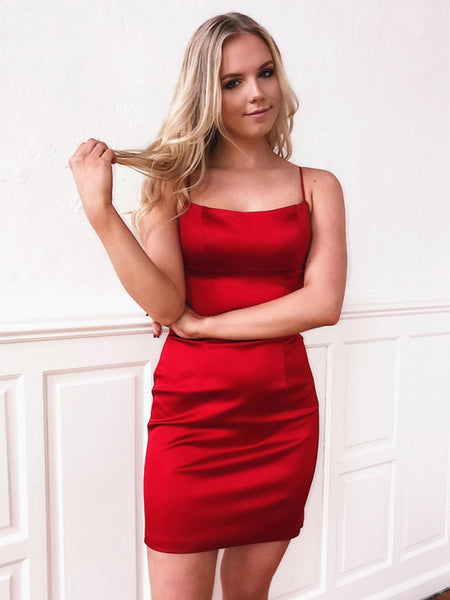 Short Red Backless Prom Dresses, Short Red Backless Formal Homecoming Graduation Dresses