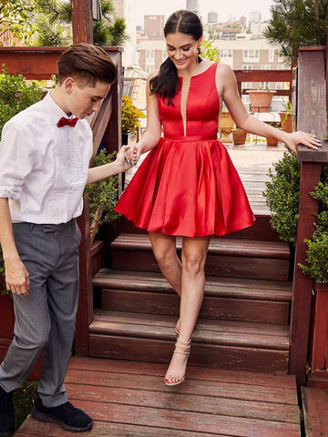 Short Red Prom Dresses, Round Neck Short Red Formal Homecoming Dresses