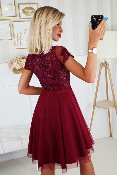 Short Sleeves Burgundy Lace Prom Dresses, Short Sleeves Burgundy Lace Formal Homecoming Dresses